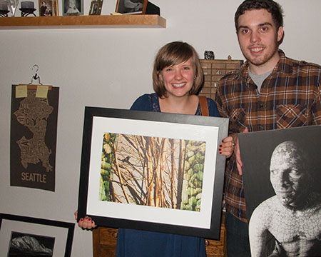 Donnie Dinch and his lovely girlfriend hold up work by myself and the photographer Alison Braun